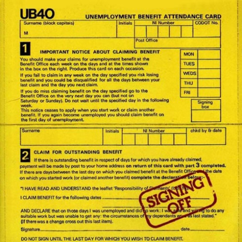 UB40 signing off album cover